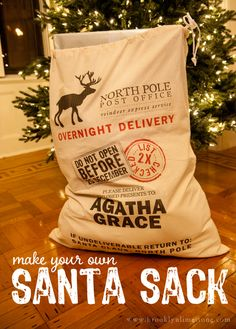 DIY Santa Sack with Free Printable | BrooklynLimestone