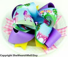 Fantasy Land Hair Bow For Girls Big Boutique Bow by SheWearsitWell, $14.00