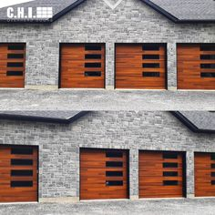 Using contrast between your garage door and your exterior color palette will enhance your overall design and make your home stand out. Explore Planks from the Contemporary Collection today - available in Accents Woodtones (shown in Cedar), the most realistic faux wood garage doors in the industry. Shown: Planks in Cedar with tinted right-stacked windows. Choose up to 3 free color samples and we'll mail them to for free. (via @commercialdoorsystemsltd on Instagram) Faux Wood Garage Door, Garage Door Windows, Windows And Doors, Exterior Color Palette, Exterior Colors, Black Window Frames, Types Of Insulation, Window Types, Grey Brick