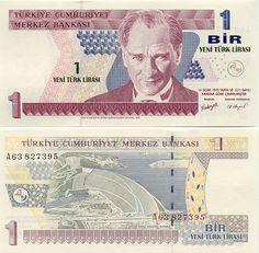 Turkey 1 Lira 2005    President Mustafa Kemal Atatürk; Hydroelectric dam in Sanliurfa - Adiyaman.