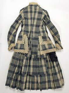 1880s girl's cotton plaid outfit, American