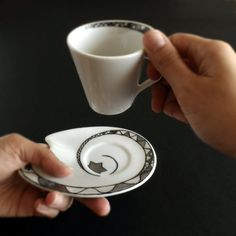 espresso cup and saucer that sit on Misty's night stand with a tealight ready in case the power goes off Espresso Cups, Coffee Cups, Tea Cups, Misty Night, Novelty Items, Ceramic Design, Ceramic Cups, China Dinnerware, Silver Stars