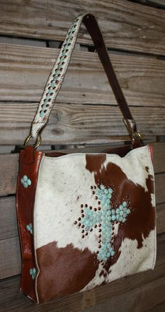 KurtMen Box Tote in Hair on Hide and Saddle Leather plus Distressed Turquoise Cross www.gugonline.com Price:$469.95