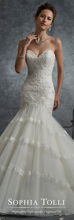 Sophia Tolli Fall 2017 Wedding Gown Collection - Style No. Y21737 Saturn- strapless lace and tulle trumpet wedding dress