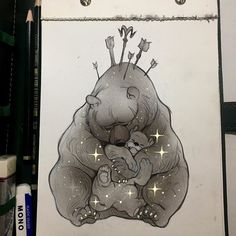 """""""I would do anything for you""""  #celestialatlas #ursamajor #ursaminor - Thank you so much for the 800k followers! To celebrate I'm drawing my constellations animals and I'll give away these originals in a couple of days. Ps: the sketchbook and pencils are @fabercastellglobal ! Glow and grayscale done on photoshop. Posted some process of this on my stories. _picolo"""