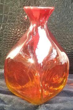 Vintage Blenko Handblown Amberina Glass Pitcher~~Red, Yellow