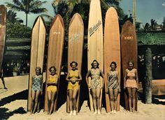 Chicks dig the longboard. A National Geographic vintage surf photo. Vintage Hawaii, Surf Vintage, Vintage Surfing, Photo Vintage, Retro Surf, Vintage Girls, Vintage Beach Signs, Vintage Beach Photos, Vintage Tiki