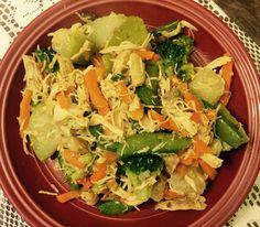 Pollo desmenuzado, vegetales al vapor y chayote