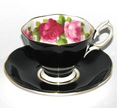 Vintage Royal Albert Black Teacup and Saucer with Roses