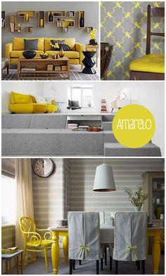 cinza e amarelo - decoracao