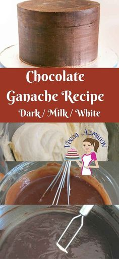 Chocolate Ganache is an absolute treat you can add to any cake or cupcake. It is the perfect frosting you can use when decorating cakes, especially novelty cakes. The firmness of the chocolate can be a real blessing to cake decorators when working shaped cakes. Here I give you all three recipes -Dark, Milk and white chocolate Ganache that you can use as a Filling or Frosting for dessert or Fondant decorated cakes. via @Veenaazmanov