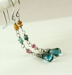 Colorful Gemstone  Earrings   Topaz  Tourmaline  by hildes on Etsy, $48.00