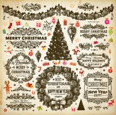 Ornamental Christmas vector decorative elements