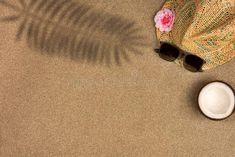 Minimalist Summer Flat Lay With, Sunglasses And Panama Hat On Sand Stock Photo - Image of modern, creative: 150935476 Summer Flats, Summer Sunglasses, Flat Lay, Panama Hat, Minimalist, Photoshop, Stud Earrings, Stock Photos, Hats