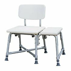"""Bariatric Aluminium Frame Bath Bench by Medline. $112.00. Fits tubs 11"""" to 21.25"""" deep. 6 month warranty on handles, feet, suction cups, push buttons, and any wearable parts.. 550lb weight capacity. Limited lifetime warranty on frame. Bariatric Aluminum Frame Bath Bench is a durable, blow-molded plastic bench equipped with wide base and suction cup tips on two legs, offering stability and safety. Direction of seat can be reversed easily without the use of tools. The aluminum..."""