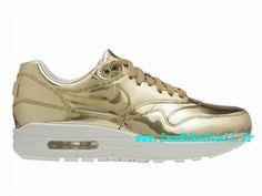 premium selection 05707 bee25 Officiel Nike Wmns Air Max 1 87 SP GS - Chaussures Nike Pas Cher Pour Femme Enfant  Metallic Gold Sail 616170-700