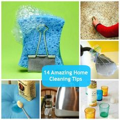 14 Household Cleaning Tips That Will Blow Your Mind: dirty shower heads, clean fruit, dryer lint, floor scuffs, blinds, grease stains, stainless steel, vacuum small items, mattress pee stains, dirty pains, candles, electronic screens, sponges, votive holders,