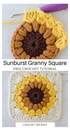 Granny Square Crochet Pattern, Crochet Squares, Crochet Blanket Patterns, Crochet Motif, Diy Crochet, Crochet Designs, Crochet Crafts, Knitting Patterns, Granny Square Tutorial
