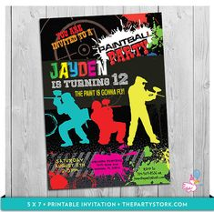 Paintball Party Invitation: Printable Boys Paint by thepartystork