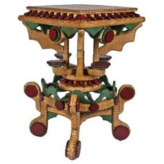 1920s Fine whimsical tramp art plant stand or stool with an exceptional polychrome surface. The colors are vibrant.
