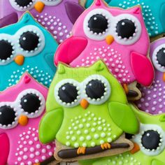 Colorful decorated owl cookies - Royalty Free Stock Photo