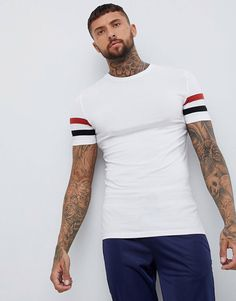 Buy ASOS DESIGN muscle fit t-shirt with stretch and sleeve stripe in white at ASOS. Get the latest trends with ASOS now. Asos Online Shopping, Online Shopping Clothes, Muscle T Shirts, Latest Fashion Clothes, Mens Tees, Shirt Outfit, Shirt Designs, Menswear, Mens Fashion