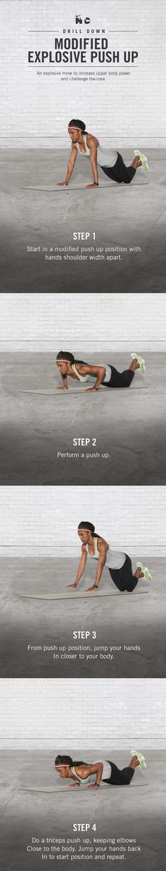 Increase upper body power and challenge your core. Crush Modified Explosive Push Ups in Brianna Rollins' Race Ready workout on Nike+ Training Club.