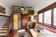 Modern/Rustic Tiny House with Staircase to Loft