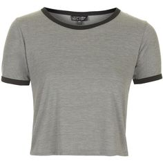 TOPSHOP Contrast Trim Cropped Tee (62 BRL) ❤ liked on Polyvore featuring tops, t-shirts, shirts, crop tops, grey, jersey shirt, grey t shirt, tee-shirt, grey crop top and crop shirt
