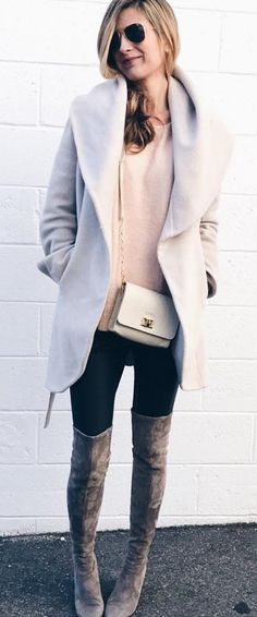 #winter #fashion /  Grey Coat + Pink Knit + Black Leggings + Brown OTK Boots