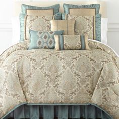 Home Expressions™ Carlton Hill Jacquard Comforter Set & Accessories found at - bedding, linen. Master Bedroom, Bedroom Decor, Bedroom Ideas, Bedroom Designs, Bedding Shop, Bedding Collections, Bed Covers, Comforter Sets, Bed Spreads