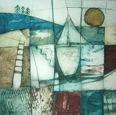 Carol Edgar - Artist / Printmaker Title: Marine Collograph Edition of 50 Size (hxw): 27 x 27 cms