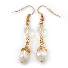 Vintage Inspired Simulated Pearl Bead Drop Earrings In Gold Tone - 50mm Length - main view