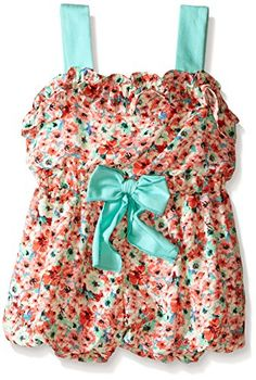 Rare Editions Girls' Daisy Print Romper, Multi, 3T