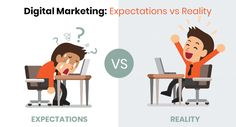 Digital marketing has changed how individuals can deal with their publicizing. However, what people expect when beginning a digital promotional effort is totally different from the reality. Expectation Reality, Digital Marketing Services, Effort, People, People Illustration, Folk
