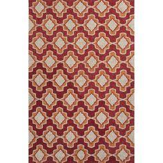 Jaipur Rugs IndoorOutdoor Moroccan Pattern Red/Orange Polyester Area Rug CAT23 (Rectangle)