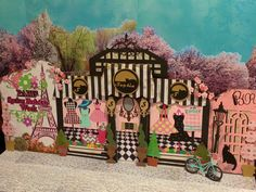 3-D Paris scene made from photographs and paper-crafting.