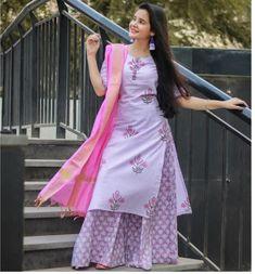 Beautiful printed kurti with dupatta and skirt. Prints create a superb design Kurti Neck Designs, Kurta Designs Women, Kurti Designs Party Wear, Blouse Designs, Pakistani Dress Design, Pakistani Dresses, Indian Dresses, Indian Outfits, Indian Attire