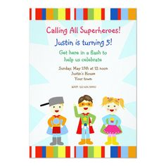 Superhero Super Heroes Birthday Party Invitations Superhero Birthday Invitations, Superhero Birthday Party, Birthday Parties, Online Invitations, Custom Invitations, Invites, Make Your Own Superhero, Kids Party Supplies, Christmas Card Holders