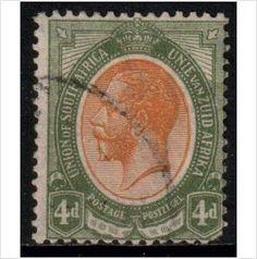 South Africa Scott 9 - SG10a, 1913 4d used stamps sur le France de eBid