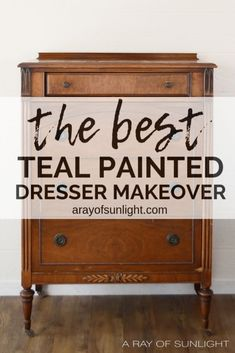 The Chalk-Style Painted Teal Dresser Makeover by A Ray of Sunlight The best teal paint color to pa The Chalk-Style Painted Teal Dresser Makeover by A Ray of Sunlight The best teal paint color to pa Bedroom nbsp hellip Teal Painted Dressers, Teal Dresser, Old Dressers, Chalk Paint Dresser, Diy Furniture Renovation, Paint Furniture, Furniture Ideas, Furniture Refinishing, Teal Painted Furniture