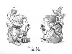 """HOLIDAY/SANTA Drawings            Santa's Elves - for Figurines -   Trenkle, the Elf    This drawing was done as figurine design for The GreenwichWorkshop Collection of """"Santa and his Elves.""""  Graphite on layout bond, page size: 12"""" x 9."""" - Trenkle, the Elf."""