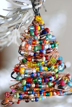 Christmas tree ornament, Beaded decoration