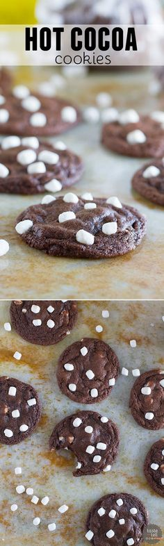 The perfect way to get into the holiday spirit, these Hot Cocoa Cookies combine super chocolaty cookies with mini marshmallows in a soft and chewy cookie.: