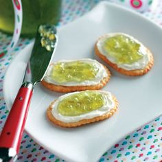 Texas Jalapeno Jelly Recipe  Ingredients  2 jalapeno peppers, seeded and chopped  3 medium green peppers, cut into 1-inch pieces, divided  1-1/2 cups white vinegar, divided  6-1/2 cups sugar  1/2 to 1 teaspoon cayenne pepper  2 pouches (3 ounces each) liquid fruit pectin  About 6 drops green food coloring, optional | See more about pepper jelly, jalapeno jelly and jalapeno jelly recipes.