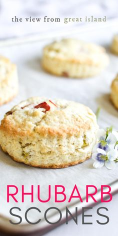 Rhubarb Scones ~ these pretty scones loaded with little bits of juicy rhubarb make a perfect breakfast or afternoon tea-time treat. #rhubarb #breakfast #recipe Rhubarb Dishes, Rhubarb Scones, Freeze Rhubarb, Rhubarb Recipes, Easy Desserts, Dessert Recipes, Afternoon Tea Recipes, Best Sweets, Sweet Tarts