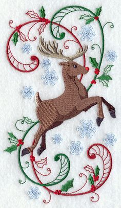 Rudolf in Swirling Holly and Snowflakes by VelvetHearts on Etsy