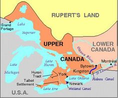 Upper Canada, the predecessor of modern Ontario, was created in 1791 by the division of the old colony of Quebec into Lower Canada in the east and Upper Canada in the west. I Am Canadian, Canadian History, British North America, Church Of England, History Timeline, Family History, History Class, Social Science, First Nations