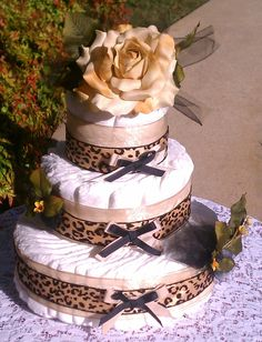 Into The Wild animal print  Diaper Cake Free by FromDiapers2Divas, $59.00