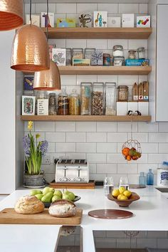 Real home: a colourful kitchen-diner extension Diy Kitchen Shelves, Diy Kitchen Decor, Shabby Chic Kitchen, Rustic Kitchen, Kitchen Furniture, Kitchen Design, Kitchen Diner Extension, Open Plan Kitchen, Quirky Kitchen